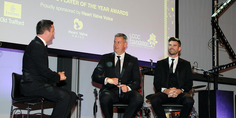 LCCC head coach and Jimmy Anderson talk to the crowd during the Player of the Year Awards ceremony at Emirates Old Trafford.jpg