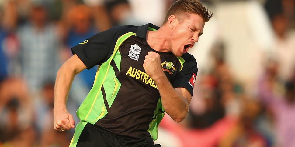 Asutalian James Faulkner celebrates a wicket in the ICC World T20 competition.jpg