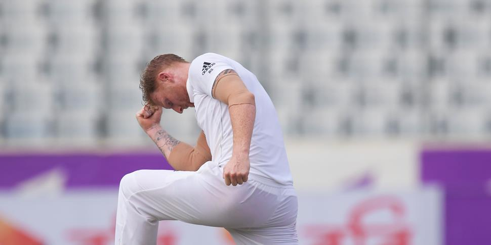 England cricketer Ben Stokes celebrates the wicket of Bangladesh's Mahmudullah during the first day of the second Test.jpg