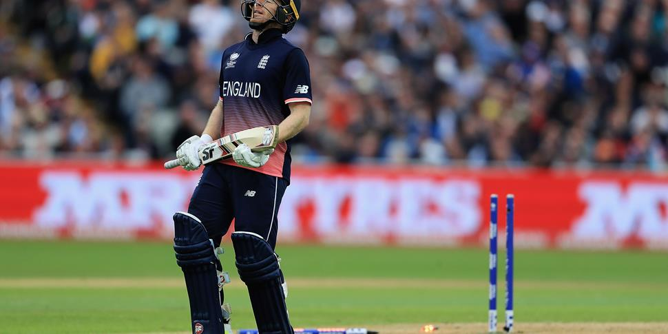 Eoin Morgan of England looks on, after being run out by Adam Zampa of Australia during the ICC Champions Trophy match between England and Australia.jpg