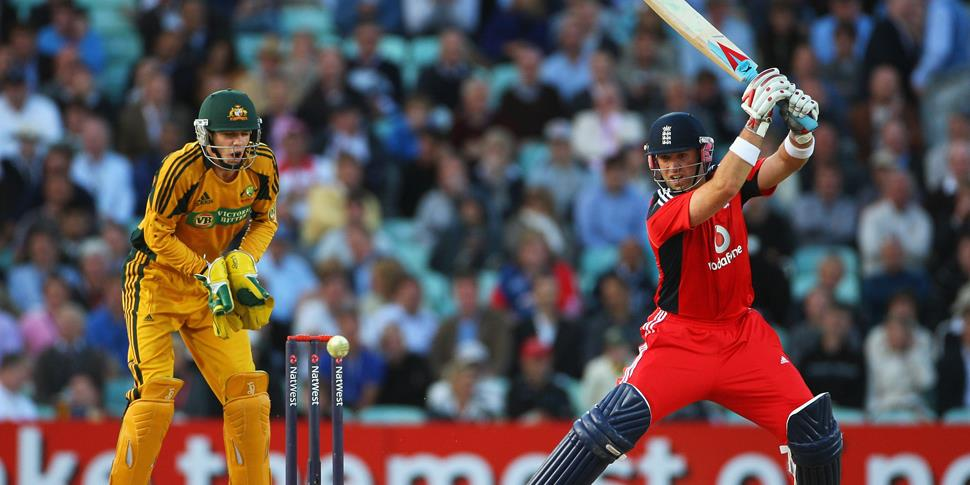 Matt Prior of England hits out watched by Tim Paine of Australia during the 1st NatWest One Day International between England and Australia.jpg