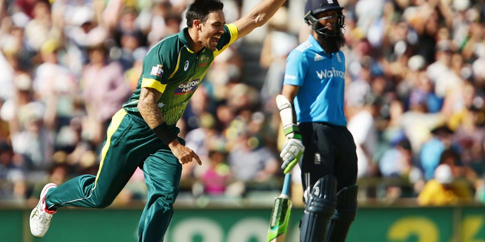 Mitchell Johnson of Australia celebrates taking the wicket of James Taylor of England during the final match of the Carlton Mid One Day International.jpg