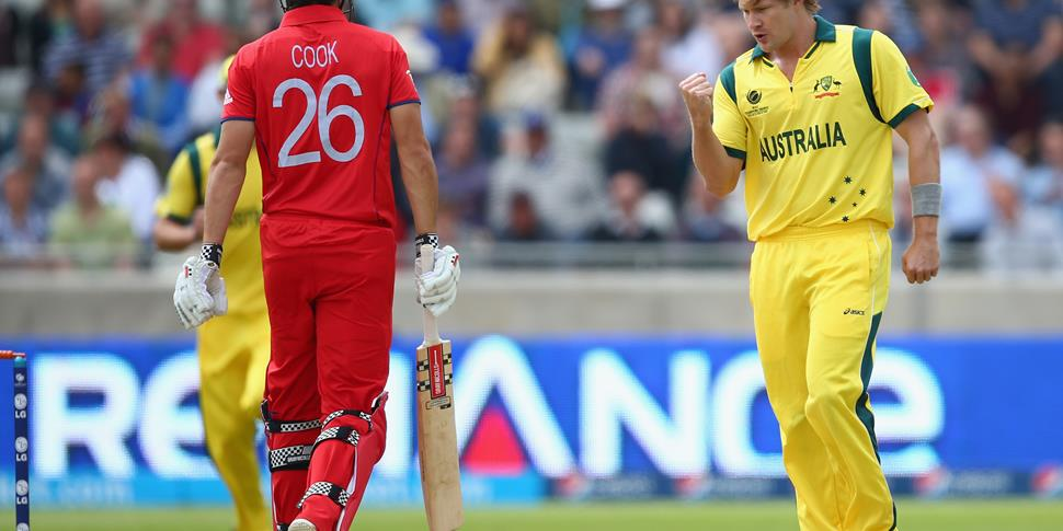 Shane Watson (R) of Australia celebrates capturing the wicket of Alastair Cook (L) of England during the Group A ICC Champions Trophy match between England and Australia.jpg