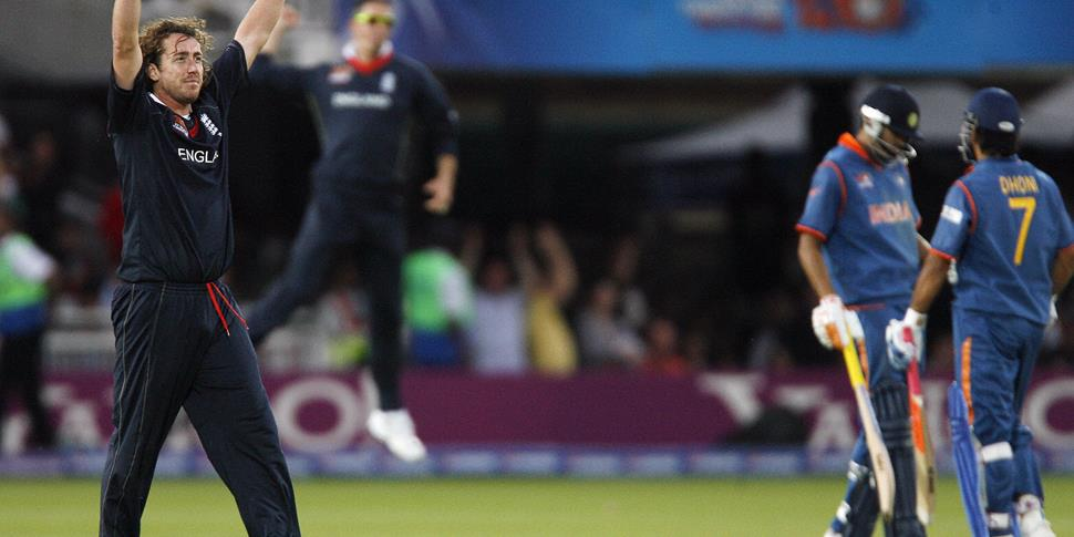 England's Ryan Sidebottom celebrates beating India by three runs during the Super 8 stage of the ICC Twenty20 Cricket World Cup at Lords in London.jpg