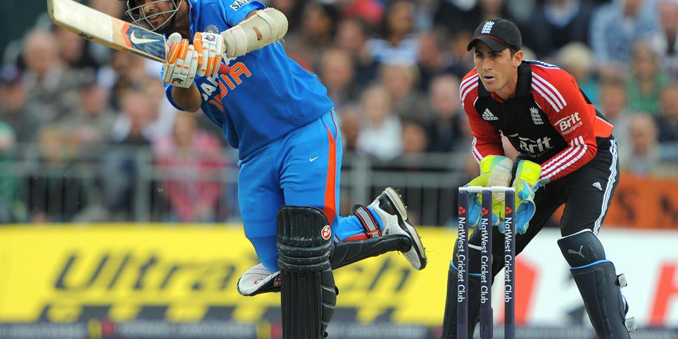 India's Ajinkya Rahane bats during the 20-20 cricket match between England and India at the Old Trafford cricket ground in Manchester.jpg