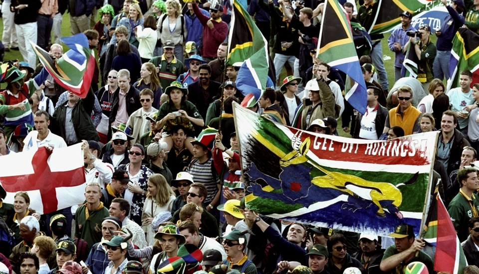 Fans celebrate during a Cricket World Cup match played at the Oval.jpg