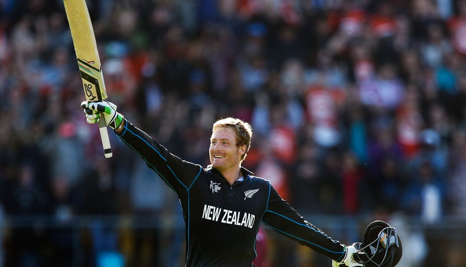 Former Lancashire batsman Martin Guptill celebrates his double century in the ICC Cricket World Cup for New Zealand.jpg