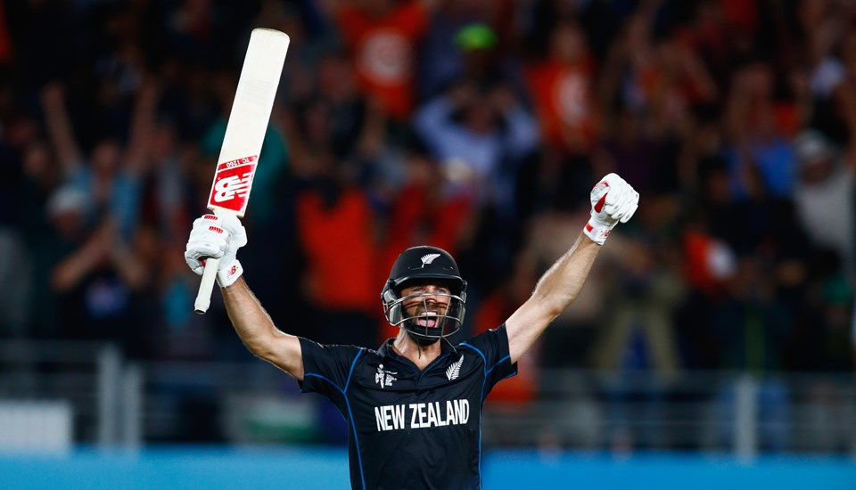 Grant Elliott celebrates for New Zealand after beating South Africa in the ICC Cricket World Cup.jpg