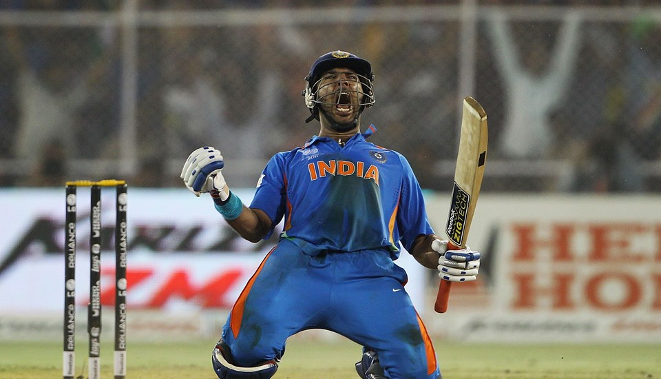 Yuvraj Singh of India celebrates after scoring the winning runs against Australia.jpg