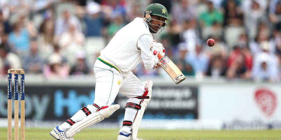 Sarfraz Ahmed hits a boundary for Pakistan in the Investec Test at Old Trafford.jpg