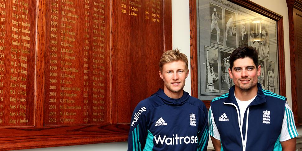 Joe Root and ALastair Cook celebrate their centuries at Lancashire County Cricket Club.JPG