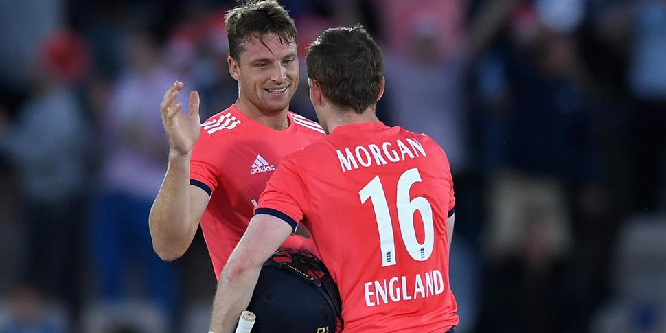 Jos Buttler and Eoin Morgan celebrate the IT20 against Sri Lanka.jpg