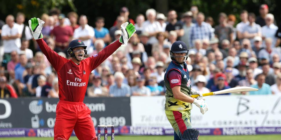 Jos Buttler of England appeals for a wicket during the NatWest T20 Blast competition for Lancashire.jpg