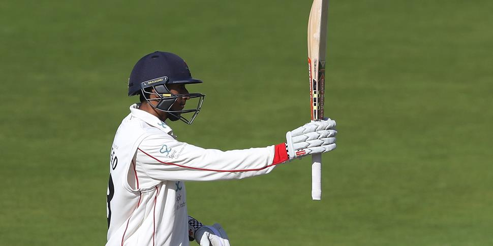 Lancashire batsman Haseeb Hameed celebrates century for Lancashire County Cricket Club in the Specsavers County Championship.jpg