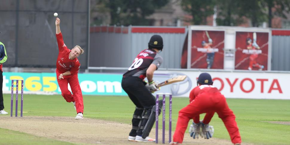 Lancashire County Cricket Club Matthew Parkinson bowling in the Second XI final.jpg