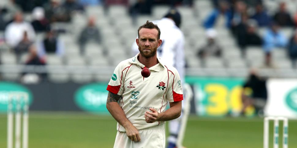 Lancashire County Cricket Club Luke Proctor bowling against Hampshire.jpg