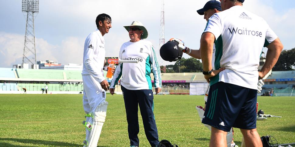 England Coach Trevor Bayliss speaks to Haseeb Hameed.jpg