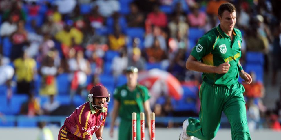 McLaren runs out West Indies batsman Ravi Rampil during the ODI against West Indies.jpg