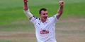 Ryan McLaren of Hampshire take a wicket in the Specsavers County Championship.jpg