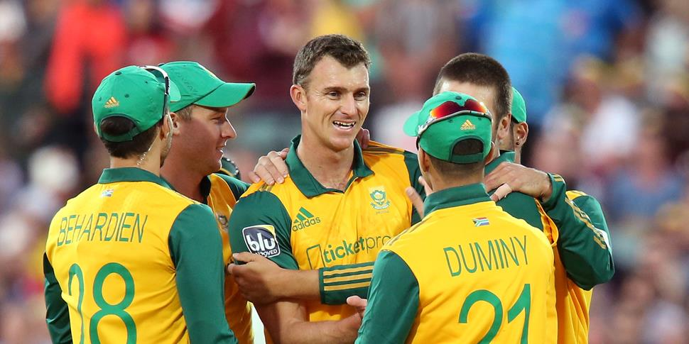 Ryan McLaren of South Africa celebrates a wicket against Australia.jpg