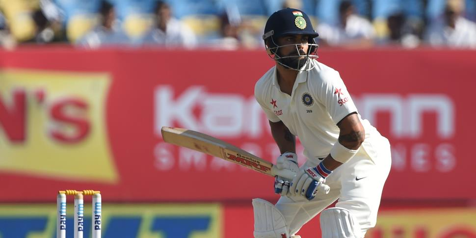 Virat Kohli prepares to face a delivery whilst making 49 not out in India's second innings.jpg