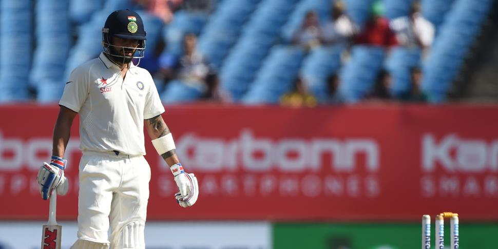 Virat Kohli steps on his own wicket in India's first innings.jpg