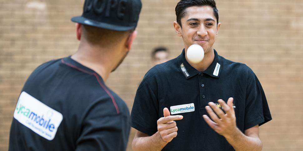Haseeb gets to grips with the tapeball.jpg