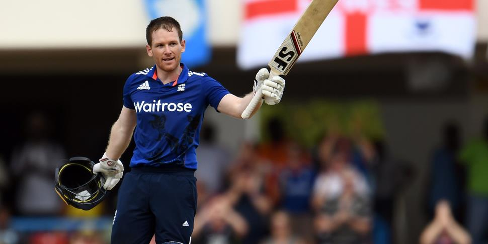 Eoin Morgan celebrates his century against the West Indies in the ODI in Antigua.jpg