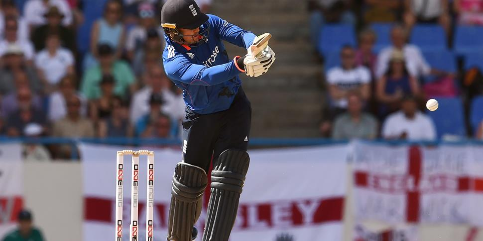 Jason Roy plays a shot during the ODI in Antigua against the West Indies.jpg