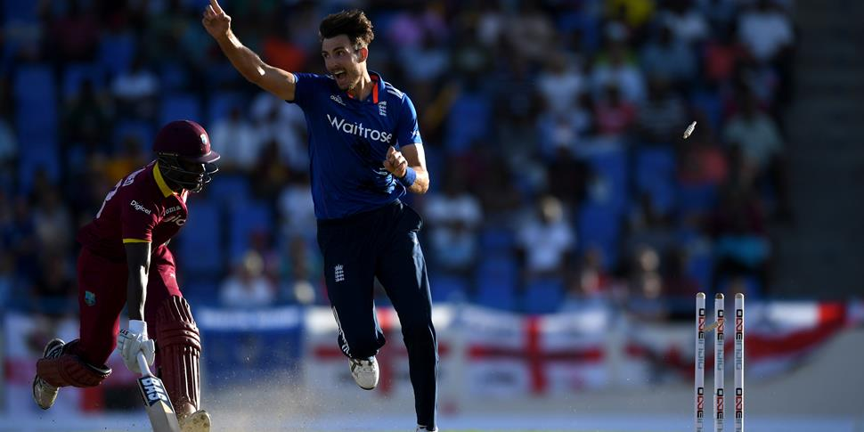 Steven Finn of England takes a wicket against the West Indies in the Onde-Day International.jpg
