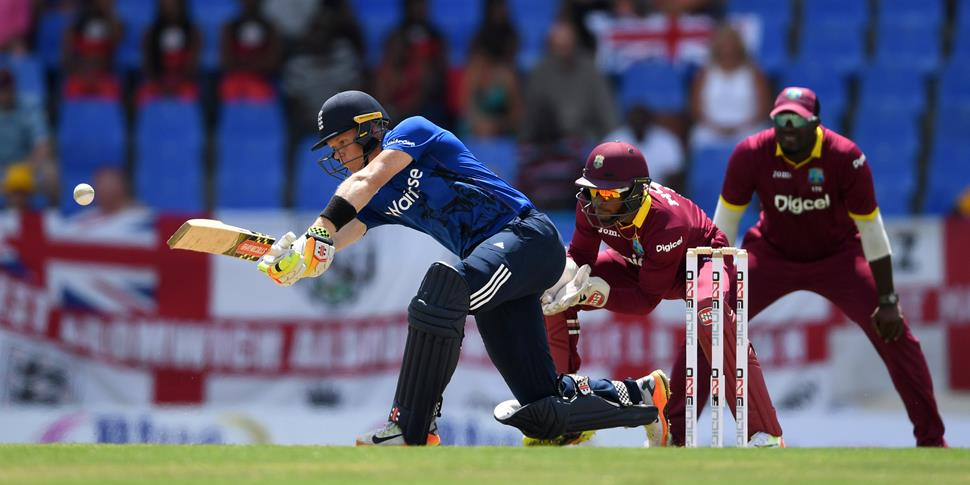 England's Sam Billings plays a shot during the West Indies v England ODI.jpg