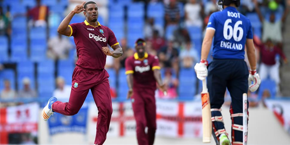 Joe Root bowled by Gabriel of the West Indies.jpg