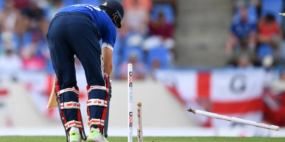 England Test Captain Joe Root is bowled out for England against the West Indies.jpg