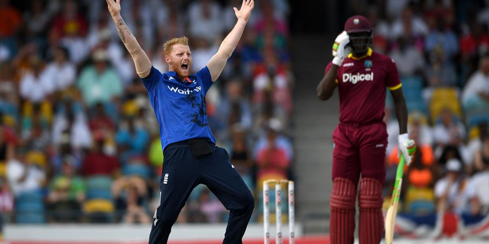 Ben Stokes appeals the wicket of Carlos Brathwaite during the ODI against the West Indies.jpg