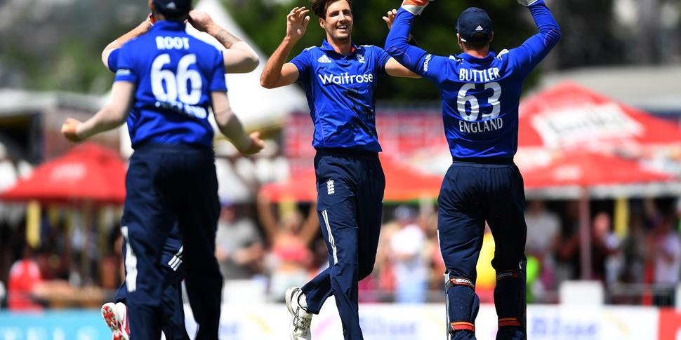Steven Finn dismisses Kieran Powell during the THird One-Day International between England and the West Indies.jpg
