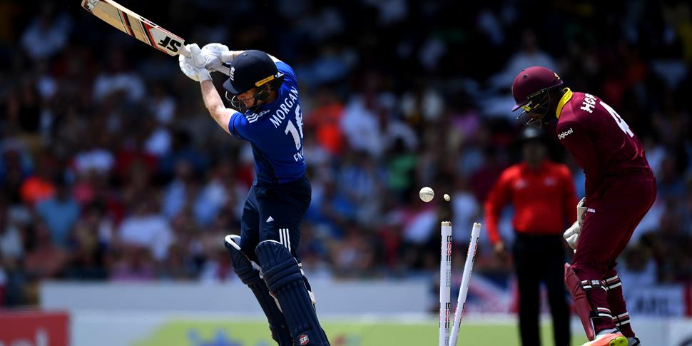Eoin Morgan bowled by Ashley Nurse in the Third ODI in Barbados.jpg