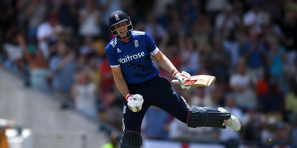 Joe Root was the second English player to reach his century against the West Indies.jpg