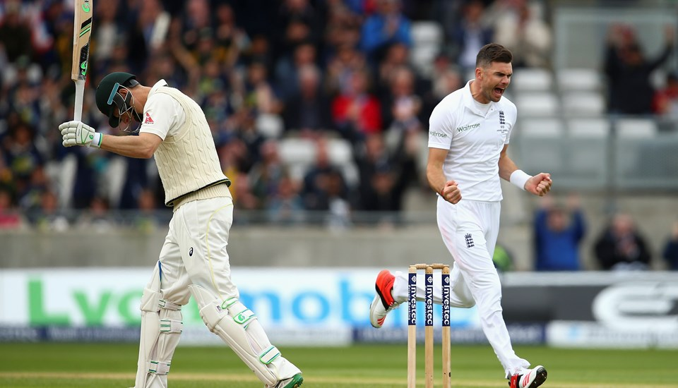Lancashire CCC bowler James Anderson celebrates a wicket for England cricket.jpg