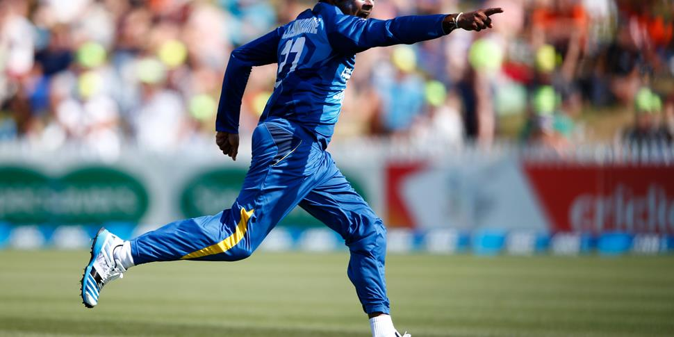 Mahela Jayawardene celebrates a wicket for Sri Lanka.jpg