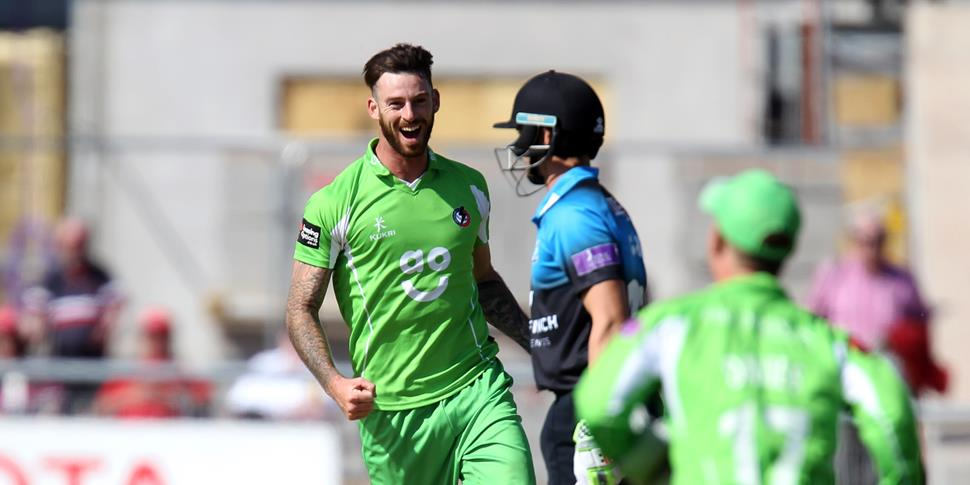Jordan Clark celebrates a wicket against Worcestershire in the One-Day CUp.JPG