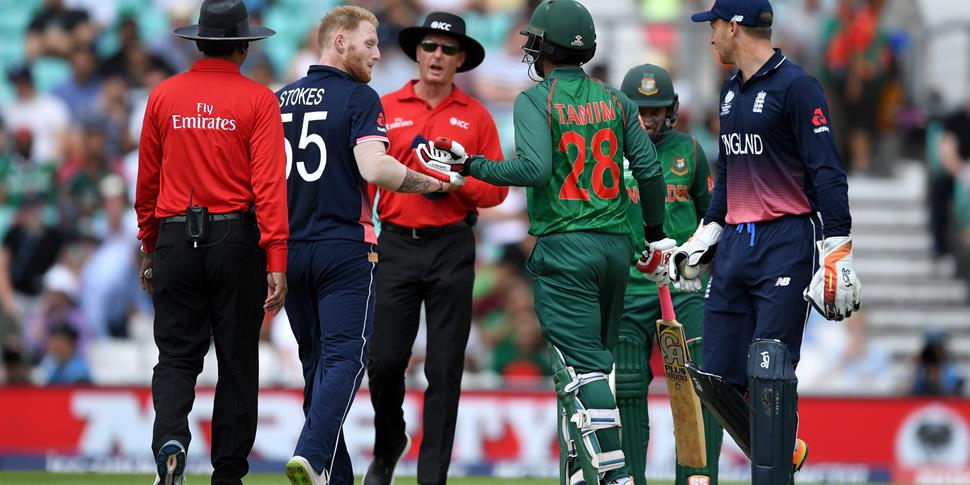 Ben Stokes and Tamim Iqbal exchange words during the group match in the Champions Trophy.jpg