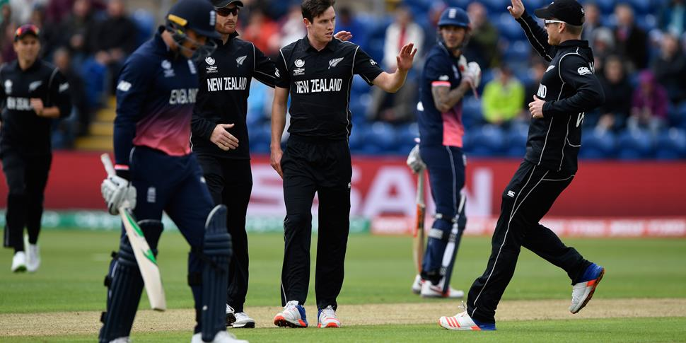 Jason Roy reacts after being bowled by Milne of New Zealand.jpg