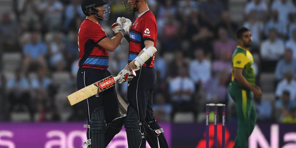 Jonny Bairstow and Alex Hales celebrate in the middle at the Ageas Bowl.jpg