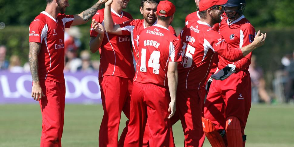 Stephen Parry celebrates his second wicket.JPG