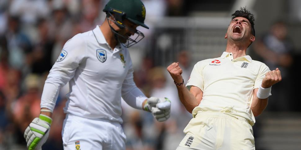 England bowler James Anderson celebrates after dismssing South Africa batsman Dean Elgar in his first over bowling from the James Anderson end during da.jpg