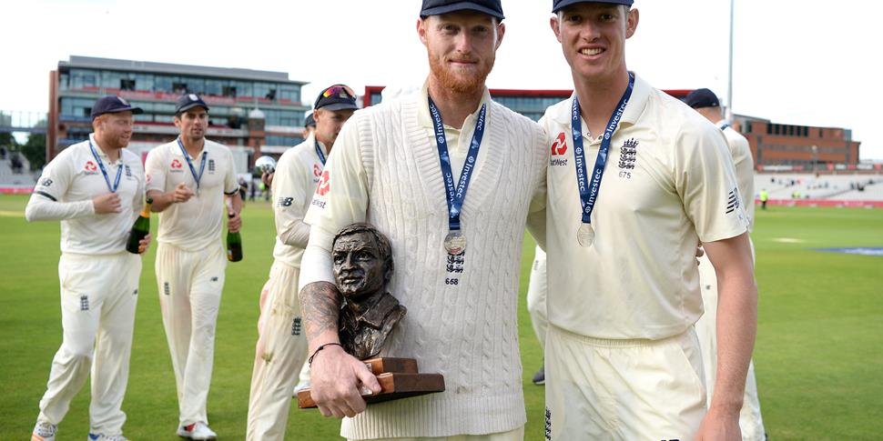 Keaton Jennings next to Ben Stokes during the England v South Africa Test match at Emirates Old Trafford, home of Lancashire County Cricket Club.jpg