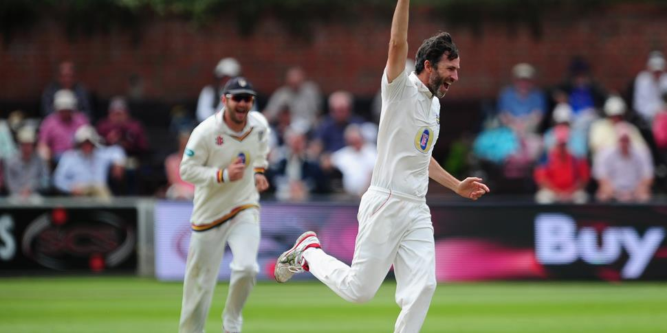 Lancashire's new signing Graham Onions celebrates after dismissing Tom Abell in the Specsavers County Championship.jpg