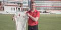 Keaton Jennings in front of the Pavilion and Hilton Garden Inn Emirates Old Trafford.jpg