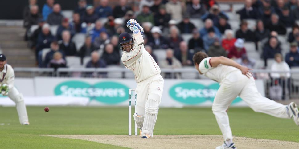 Livingstone bats for Lancashire cricket in the County Championship at Emirates Old Trafford.JPG
