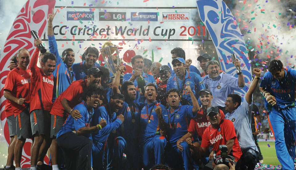 India celebrate after winning the Cricket World Cup trophy in 2011.jpg
